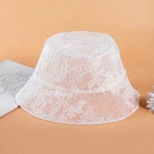 White lace bucket hat
